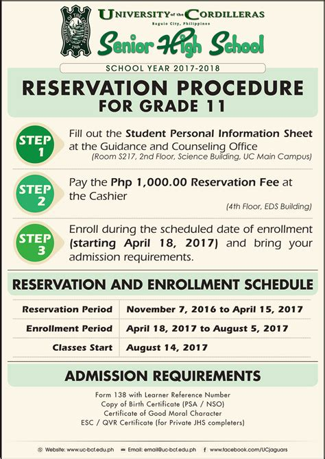 uc senior high school   accepting reservations