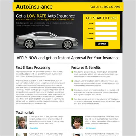 Low Car Insurance Quotes by Type Landing Page