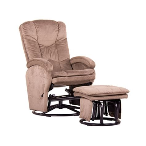 swivel glider rocker with ottoman dezmo push back microfiber recliner glider rocker with