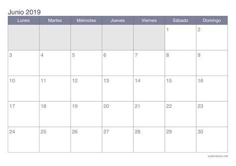 Calendario 2019 Colombia Calendario Junio 2019 Para Imprimir Icalendario Net
