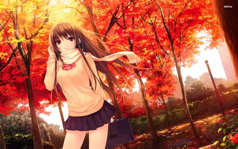 anime fall 14665 girl in the autumn park 1920x1200 anime wallpaper