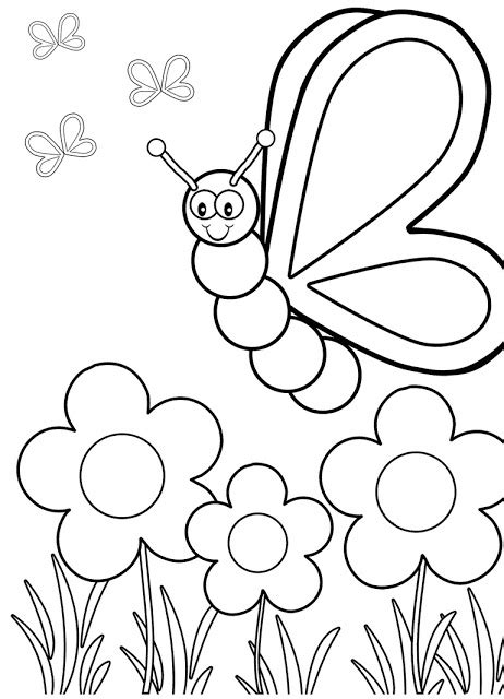 Gambar Mewarnai Kupu kupu dan bunga Terbaru | gambarcoloring
