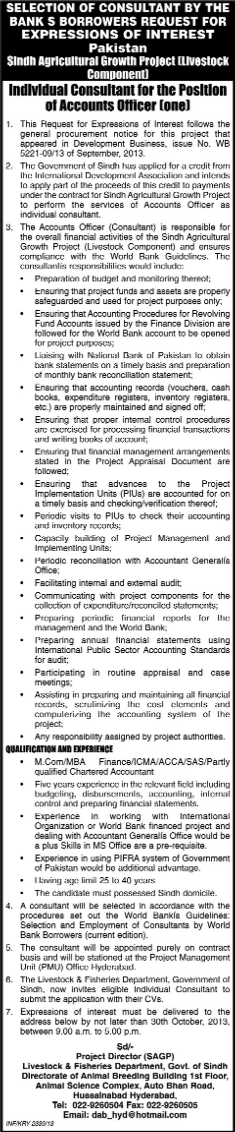 Mba Accounting In Hyderabad by Accounts Officer In Hyderabad 2013 October At Sindh