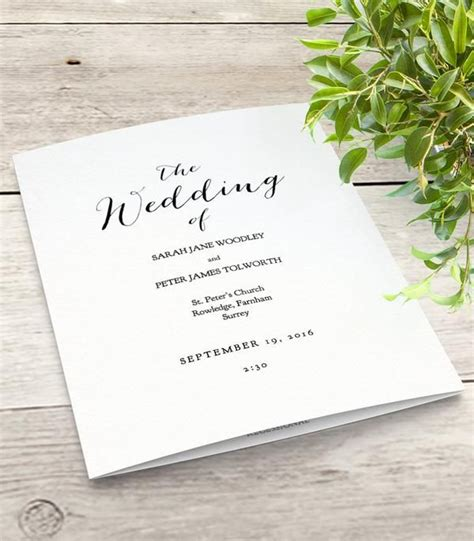 wedding order of service template free mr mrs printable wedding order of service program