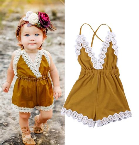 Summer Infant One Pieces Yellow 2017 new toddler infant summer newborn baby yellow