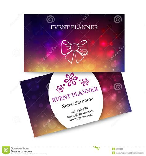 event management business card template template colorful business cards for event planner stock