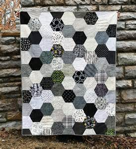 the black white gray half hexie quilt an school
