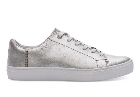 silver sneakers for silver metallic leather s lenox sneakers toms 174