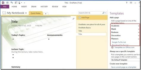 onenote 2010 templates onenote 2013 templates make note taking easier across