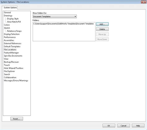 Store Your Custom Solidworks Templates In A Safe Location Default Template