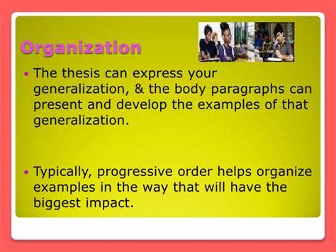 pattern of organization generalization and exle exemplification pattern