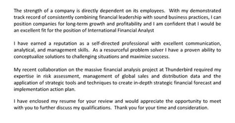 cover letter for internship financial analyst financial analyst cover letter exle cover letter