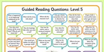 levelled guided reading questions mats books question