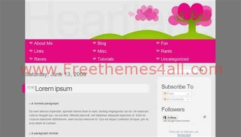 blogger blog template pink heart blog template shelby pink free blogger heart land gray pink template freethemes4all
