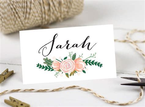 Printable Wedding Place Cards, Personalised Name Cards