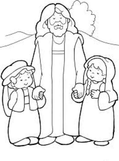imagenes para colorear jesus y los niños cristoamaalosinos dibujo cristiano de jesus con dos ninos