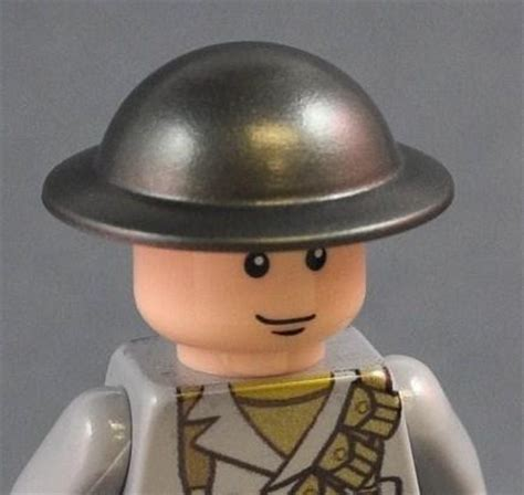Part Lego Minifigures Headgear Helmet brickarms brodie helmet gunmetal headgear lego minifig