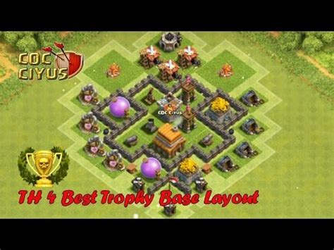 layout editor coc th 4 clash of clans town hall 4 defense coc th4 best trophy