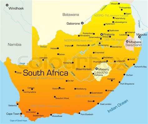 Outline Map Of South Africa With Major Cities by Abstract Vector Color Map Of South Africa Country Stock Vector Colourbox