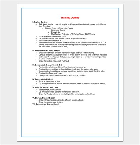 Training Course Outline Template 24 Free For Word Pdf Format Course Outline Template