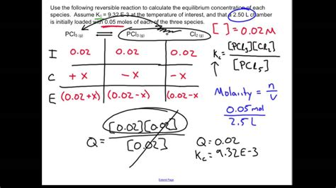 Rice Table Chemistry by Equilibrium Reaction With An Table Chemistry Sle
