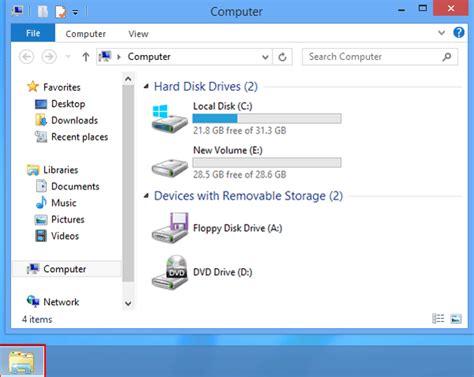 my computer desk add my computer to desktop taskbar on windows 8 8 1
