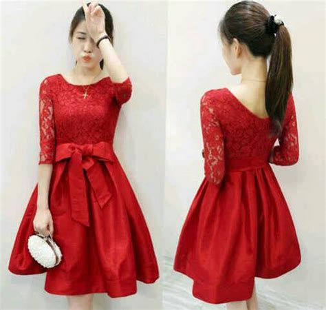 Dress Wanita Brukat baju mini dress brukat merah model tercantik murah