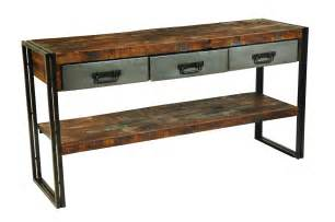 Wood Sofa Table Moti Furniture Reclaimed Wood And Metal Sofa Table 3 Drawers And Shelf Live Well Stores