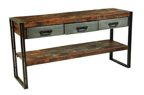 moti furniture reclaimed wood and metal sofa table