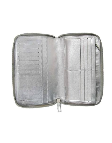 Chanel Wallet Mirror Quality 1 chanel silver mirror icons zip around xl organizer wallet for sale at 1stdibs