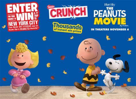 Movie Sweepstakes - nestle crunch and the peanuts movie sweepstakes and instant win game