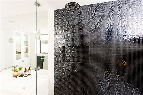 black mosaic bathroom darren deanne s winning bathroom featured the concrete