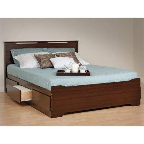 queen platform bed with headboard prepac coal harbor queen platform storage w headboard