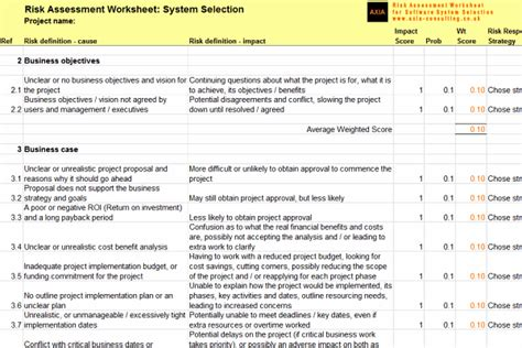 pin project risk assessment template doc on