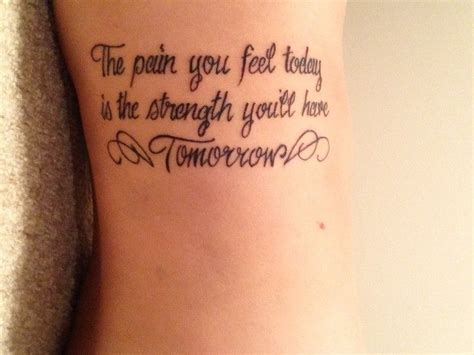 tattoo quotes gym strength tattoo quotes on side with wings the pain you