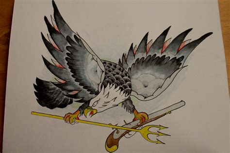 american eagle tattoo gun old school american navy eagle with crossed gun and