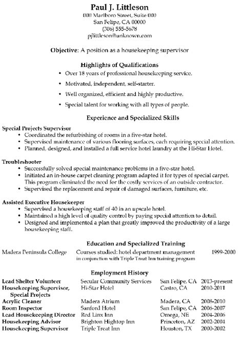 sle resume for hotel housekeeping supervisor resume sle housekeeping supervisor