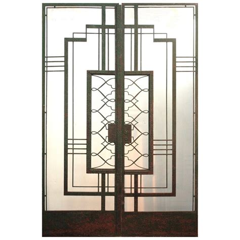 Art Deco Iron Doors Attributed To Raymond Subes At 1stdibs Deco Glass Doors