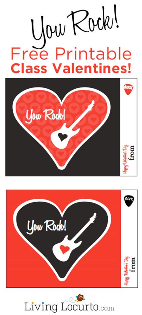 you rock valentines free printable you rock free printable