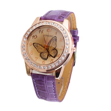new butterfly gold leather band quartz