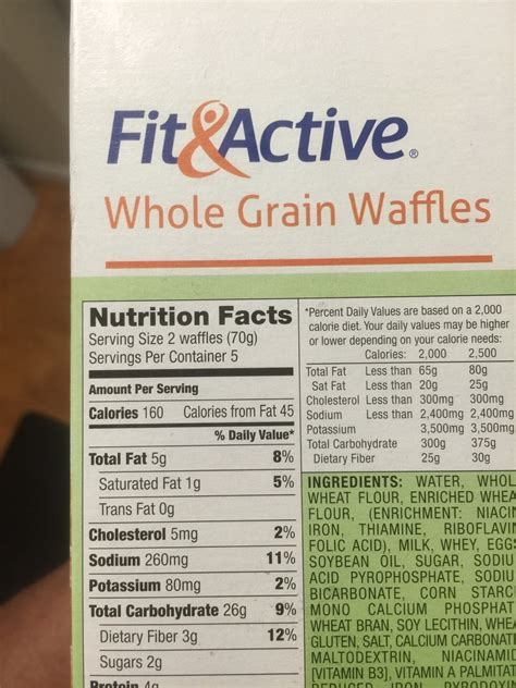 whole grains calories whole wheat waffles calories
