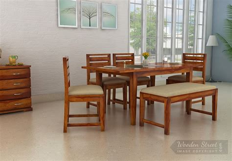 dining room sets michigan advin 6 seater extendable dining set with bench honey