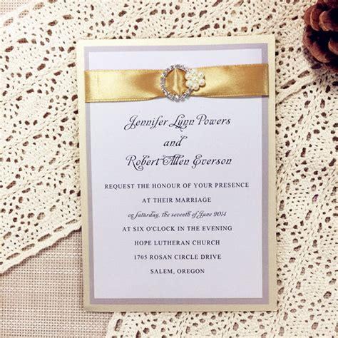 wedding invitation ribbon buckles modern gold ribbon pearl rhinestone buckle layered wedding