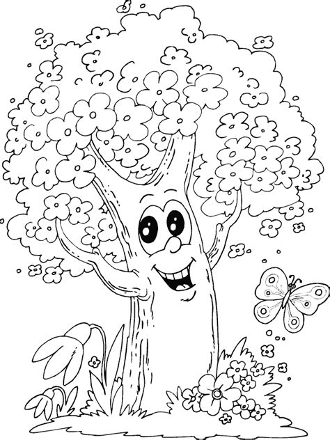 Tree And Butterfly Coloring Page Coloring Com O Tree Coloring Page