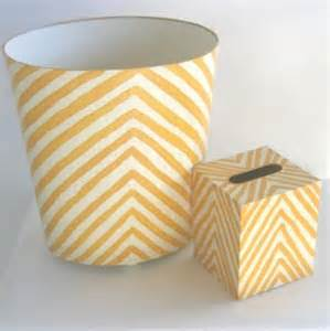 yellow wastebasket handpainted yellow zebra wastebasket and tissue box