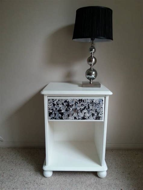 Decoupage Bedside Table - offers black and white bedside table with decoupage