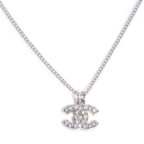 chanel swarovski cc necklace silver 65827
