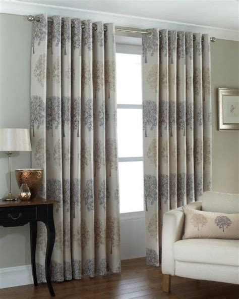beige lined curtains jacquard trees silver beige lined slub effect ring top