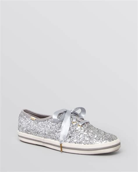Keds Kate Spade Silver kate spade keds 174 for lace up sneakers glitter in silver