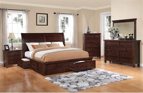 bedroom l sets sonoma 8 piece king storage bedroom set dark brown the